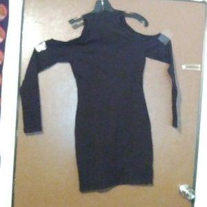 NWT black long sleeve open shoulder venus dress
